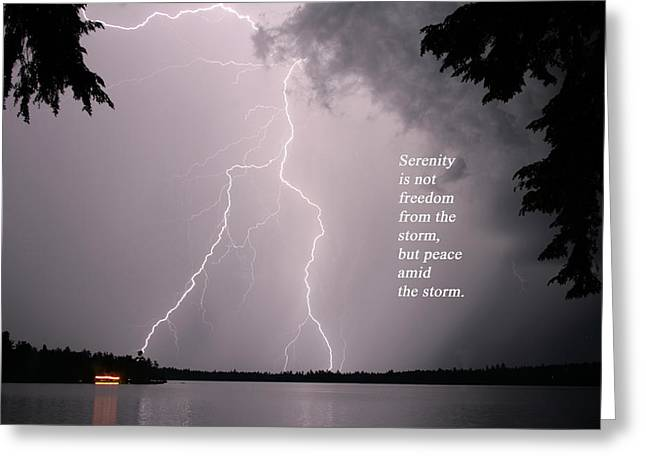 Greeting Card featuring the photograph Lightning At The Lake - Inspirational Quote by Barbara West