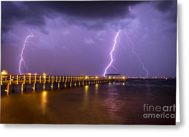 Lightning At The Pier Greeting Card by Marvin Spates