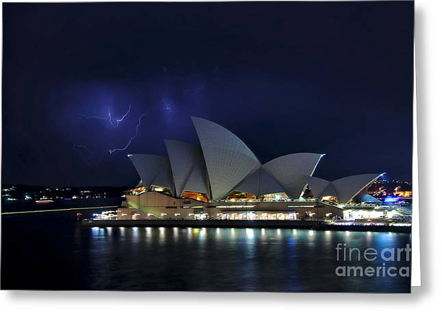 Lightning Behind The Opera House Greeting Card by Kaye Menner