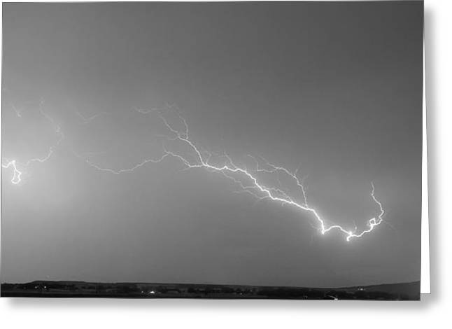 Lightning Bolts Coming In For A Landing Panorama Bw Greeting Card by James BO  Insogna