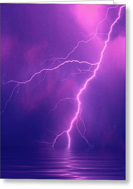 Lightning Bolts Over Water Greeting Card by Jaynes Gallery