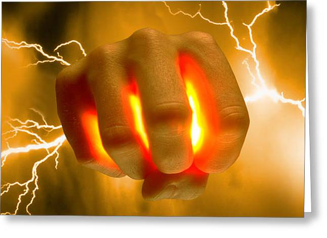 Lightning Coming Out Of Hand Greeting Card by Panoramic Images