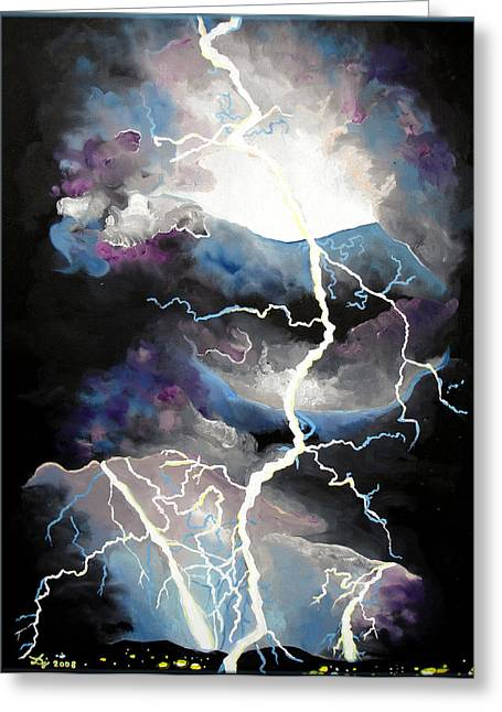 Greeting Card featuring the painting Lightning by Daniel Janda
