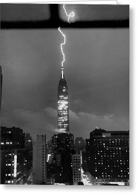 Lightning Hits Empire State Greeting Card by Underwood Archives