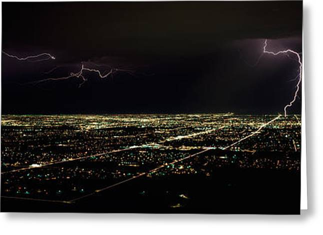 Lightning In The Sky Over A City Greeting Card by Panoramic Images