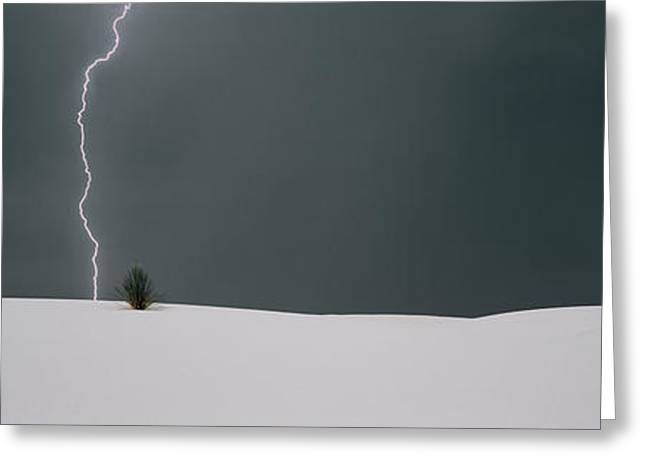 Lightning In The Sky Over A Desert Greeting Card by Panoramic Images