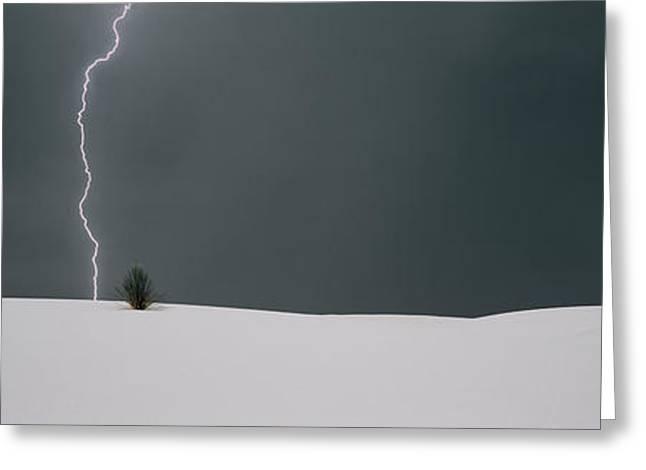 Lightning In The Sky Over A Desert Greeting Card
