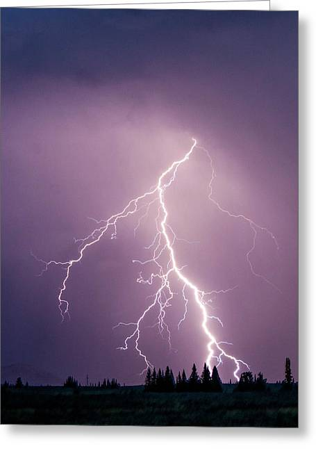 Lightning In Yellowstone National Park Greeting Card by Ben Horton