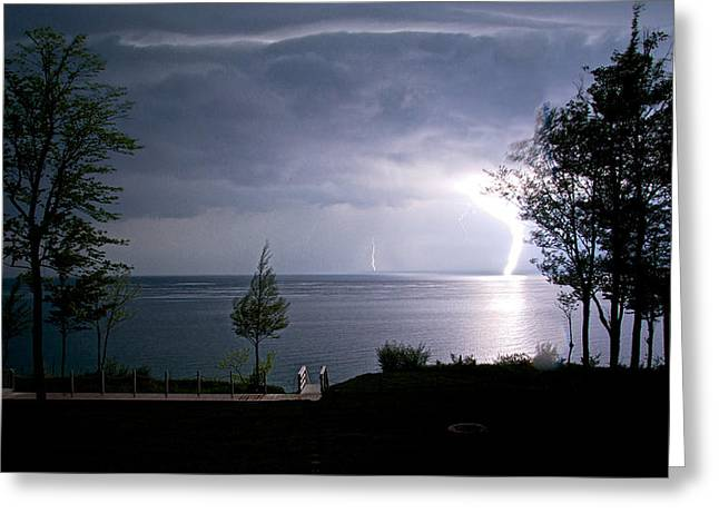 Lightning On Lake Michigan At Night Greeting Card by Mary Lee Dereske