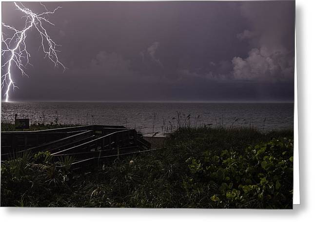 Lightning On The Water Greeting Card