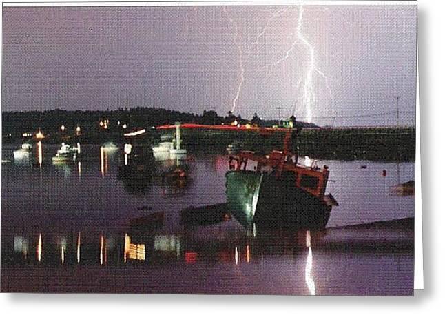Lightning Over Cribstone Bridge Greeting Card by Donnie Freeman