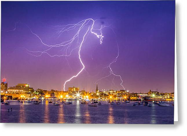 Lightning Over Downtown Portland Maine Greeting Card