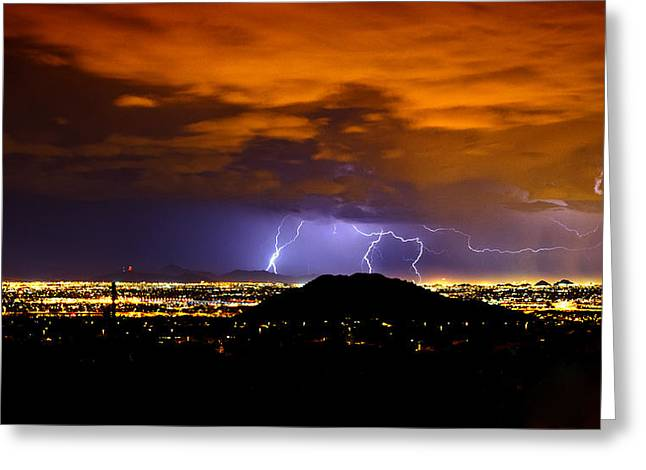 Lightning Over Phoenix  Greeting Card by Saija  Lehtonen
