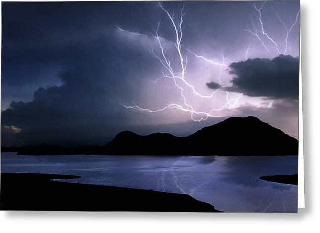 Lightning Over Quartz Mountains - Oklahoma Greeting Card