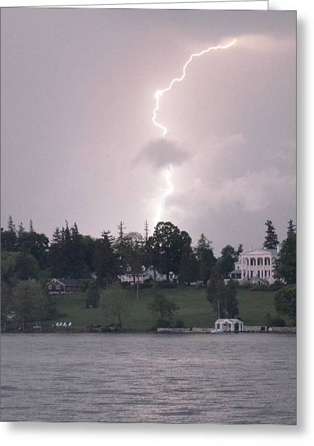 Lightning Over Skaneateles Lake Greeting Card by Robert Green