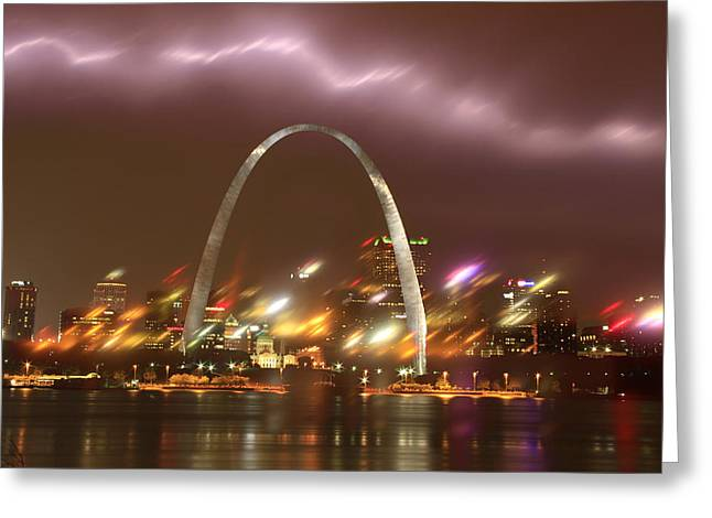 Lightning Over The Arch Greeting Card
