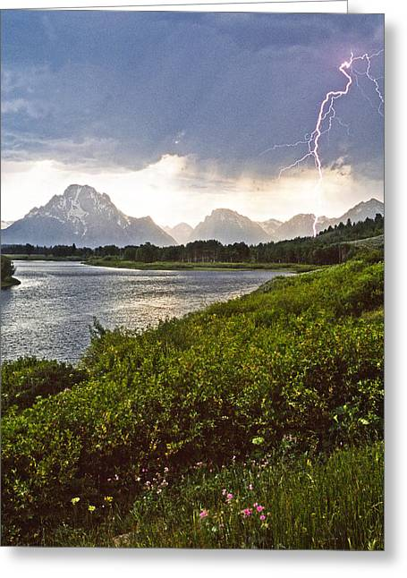 Lightning Over The Tetons Greeting Card