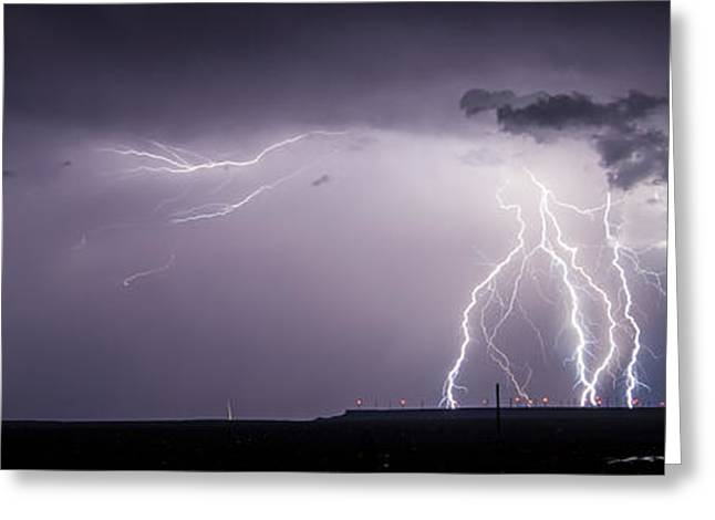 Lightning Over The Wind Farm Greeting Card