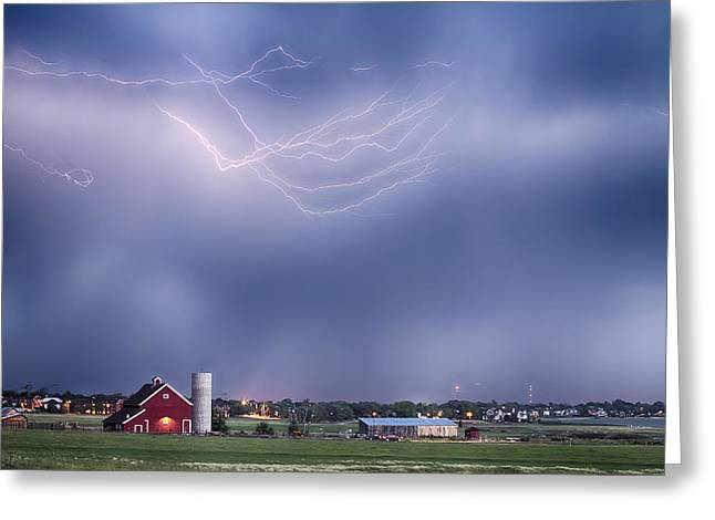 Lightning Storm And The Big Red Barn Greeting Card by James BO  Insogna