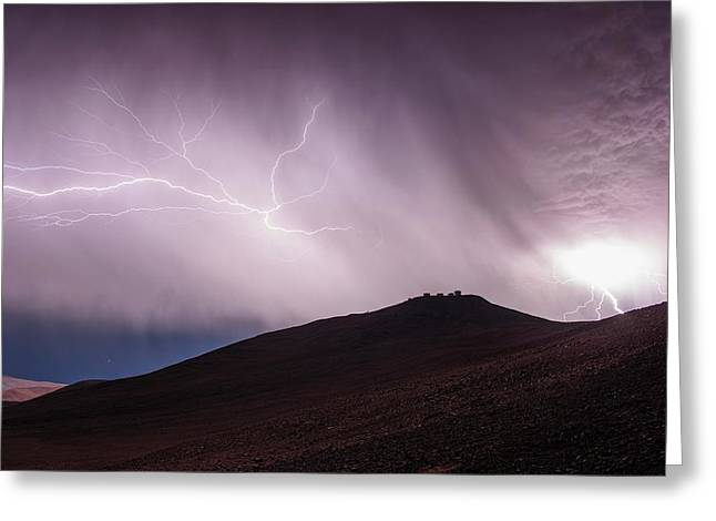 Lightning Storm Over Cerro Paranal Greeting Card by G. Hudepohl/european Southern Observatory