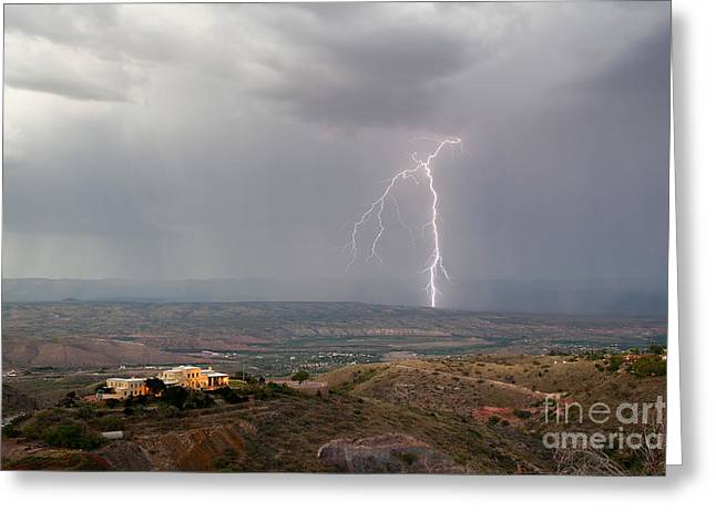 Lightning Storm Over The Verde Valley As Seen From Jerome Arizona Greeting Card