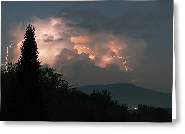 Lightning Storm Over Vermont Greeting Card by Lawrence Lawry