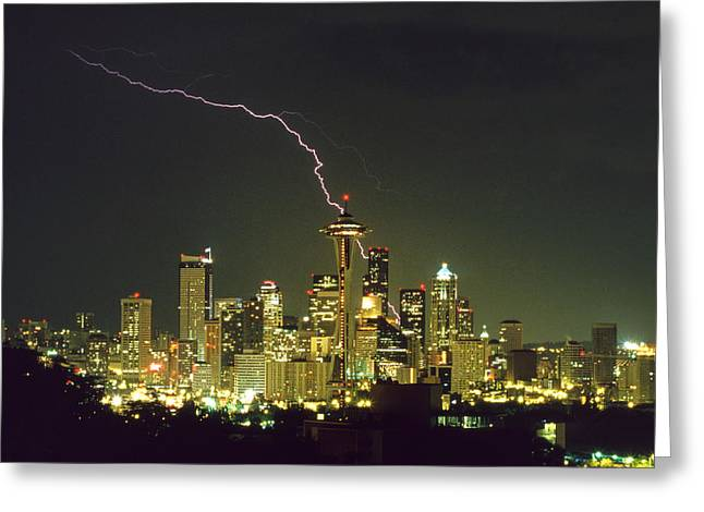 Lightning Strike In City Of Seattle Greeting Card by King Wu