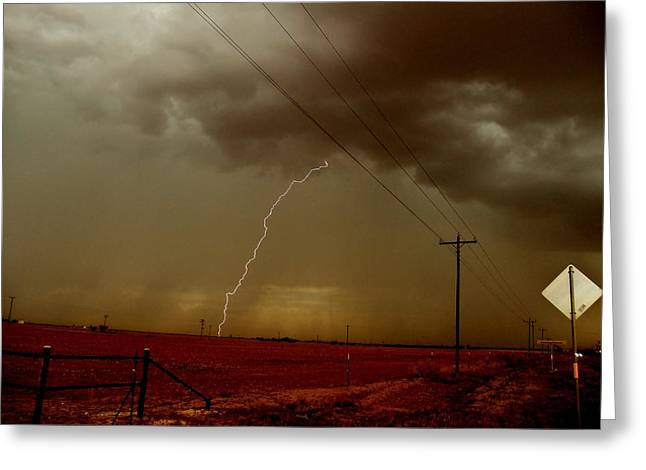 Greeting Card featuring the photograph Lightning Strike In Oil Country by Ed Sweeney