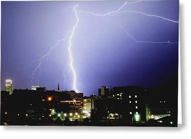 Lightning Strike In Omaha Greeting Card by Jetson Nguyen