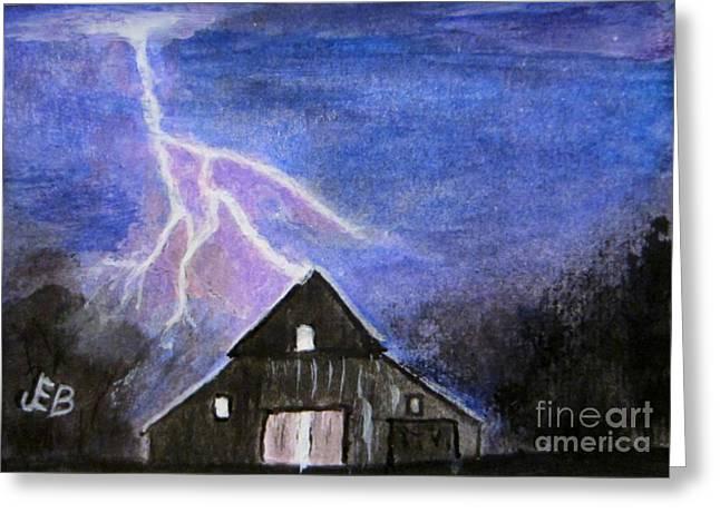Lightning Strike Greeting Card by John Burch