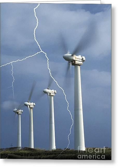 Lightning Strike Greeting Card by Mark Newman