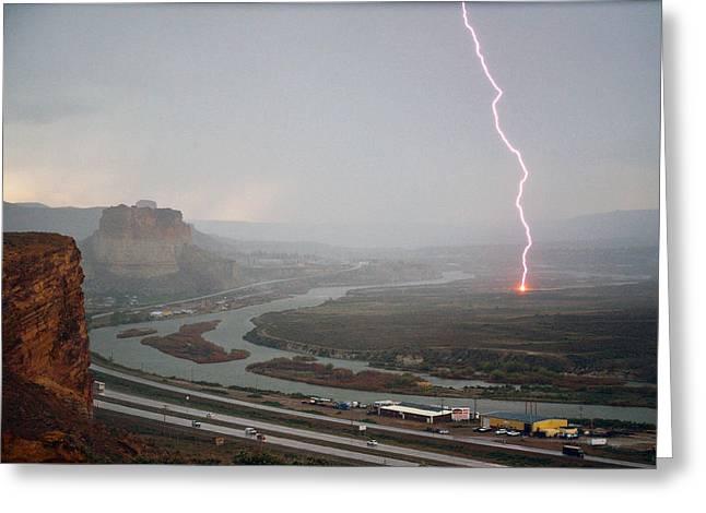 Lightning Strike Near Green River Greeting Card