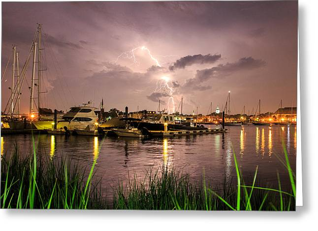 Greeting Card featuring the photograph Lightning Strikes Annapolis by Jennifer Casey