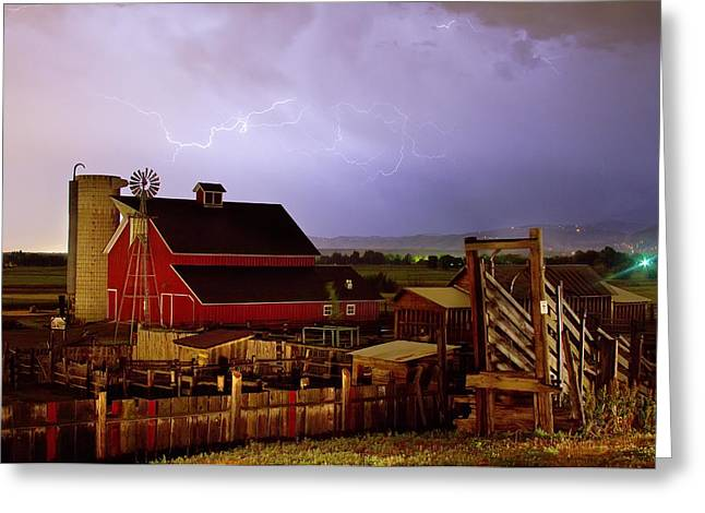 Lightning Strikes Over The Farm Greeting Card