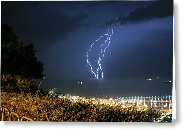 Lightning Strikes The Mediterranean Sea Greeting Card by Photostock-israel