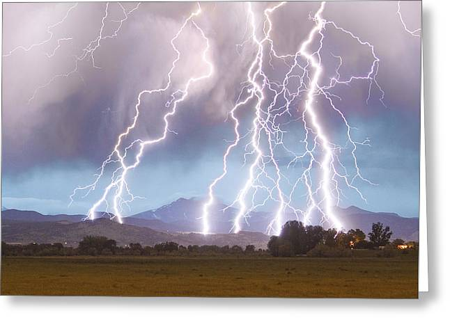 Lightning Striking Longs Peak Foothills 4c Greeting Card