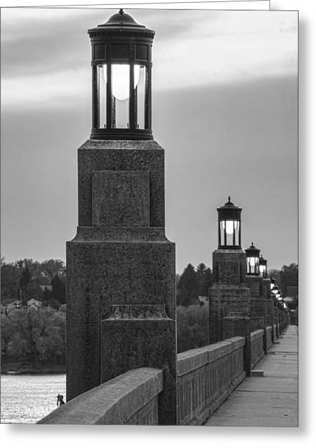 Lights Along The Columbia-wrightsville Bridge In Pennsylvania Greeting Card