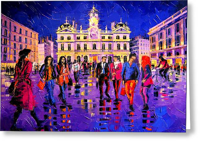 Lights And Colors In Terreaux Square Greeting Card by Mona Edulesco