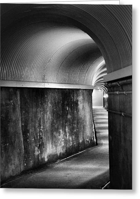 Lights At The End Of The Tunnel In Black And White Greeting Card