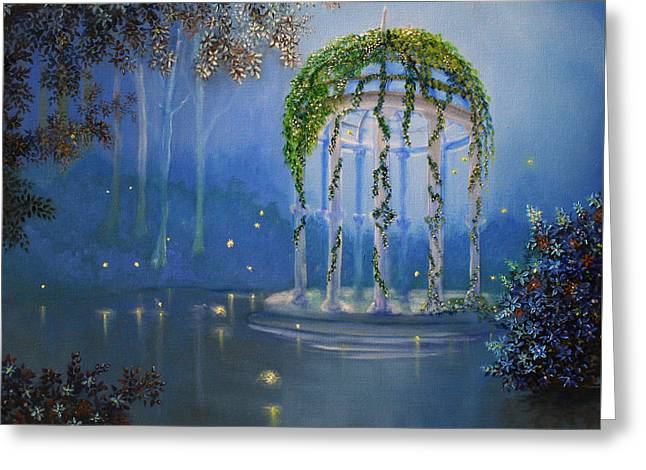 Lights In The Garden Greeting Card by David Kacey