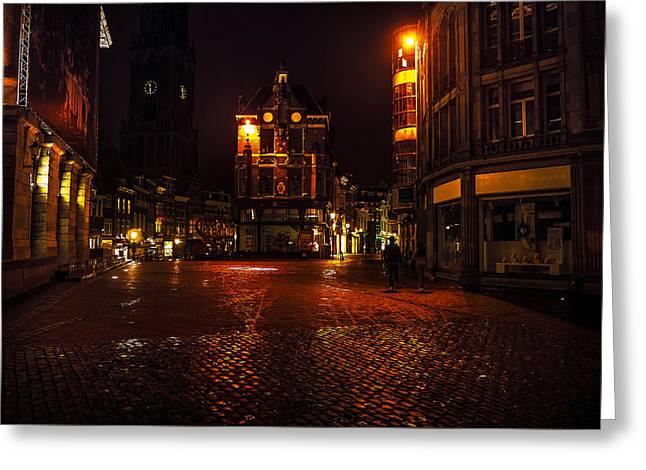 Lights Of Night Utrecht. Netherlands Greeting Card by Jenny Rainbow