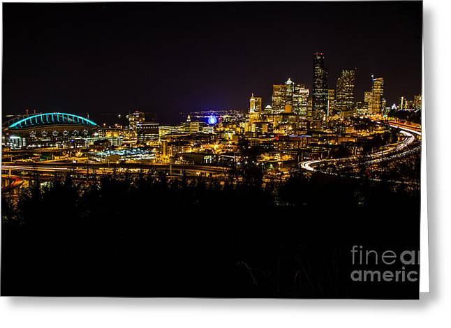 Lights Of Seattle Greeting Card