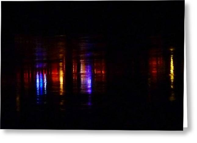 Lights On The River Reflection Greeting Card by Susan Garren