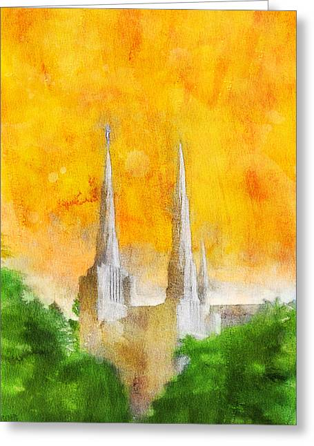 Greeting Card featuring the painting Like A Fire Is Burning by Greg Collins