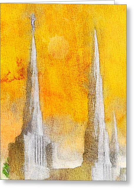 Greeting Card featuring the painting Like A Fire Is Burning - Panoramic by Greg Collins