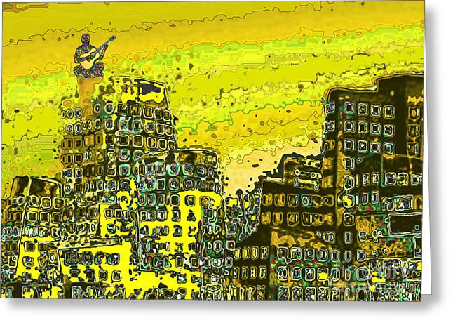 Greeting Card featuring the digital art Like A Yellow Submarine by Mojo Mendiola