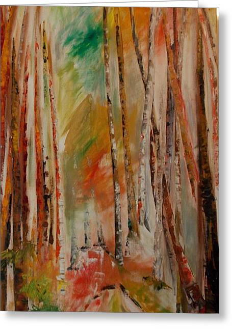 Greeting Card featuring the painting Like The Trees Always Looking Up by PainterArtist FIN