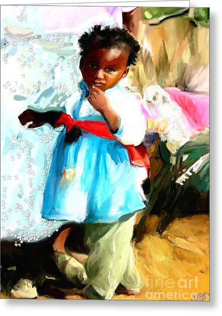 Greeting Card featuring the painting Lil Girl  by Vannetta Ferguson