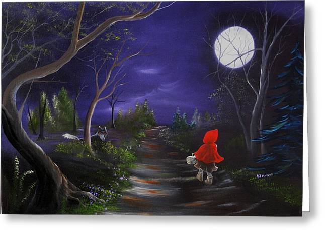 Lil Red Riding Hood Greeting Card by RJ McNall