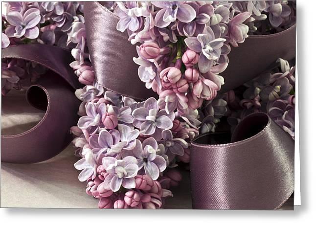 Lilac And Ribbon Curls Greeting Card